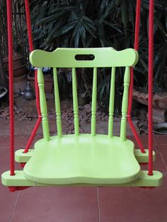 Recycled chair porch swing. I LOVE reusing old furniture