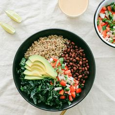 Kale & Quinoa Burrito Bowl... Packed with heart smart goodness, this burrito bowl is the ultimate in simplicity and flavor!