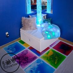 Place these gel tiles in your sensory corner or sensory room for a hands-on visual processing experience. Press the liquid and watch colors move. Sensory Room Autism, Sensory Wall, Sensory Rooms, Autism Activities, Sensory Activities, Sensory Tubs, Motor Activities, Autism Learning, Sensory Diet