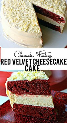 Cheesecake Factory Red Velvet Cheesecake Cake - the perfect dessert for Valentine's Day! Cheesecake Factory Red Velvet Cheesecake Cake - the perfect dessert for Valentine's Day! Red Velvet Cheesecake Cake, Oreo Cheesecake, Cheesecake Recipes, Dessert Recipes, Party Recipes, Pumpkin Cheesecake, Raspberry Cheesecake, Red Velvet Oreo Cake, Perfect Cheesecake Recipe