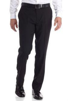 Louis Raphael Black Tailored Fit Core Shadow Column Flat Front Pants