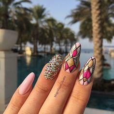 Greetings from Muscat ☀️ Summer Nails Aztec Nail Art Summer #muscat #vaca ...  #aztec #greetings #muscat #nails #summer Aztec Nail Art, Aztec Nails, Geometric Nail Art, Nail Lab, Indigo Nails, Best Nail Art Designs, Holiday Nails, Cool Nail Art, Love Nails