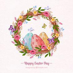 Descarga gratis vectores de Fondo de feliz día de pascua en estilo acuarela  Dia Da Pascoa 6cd231ae6d