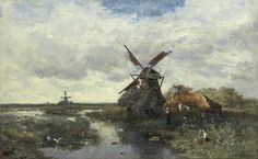 Paul Joseph Constantin Gabriël - Landschap met molens