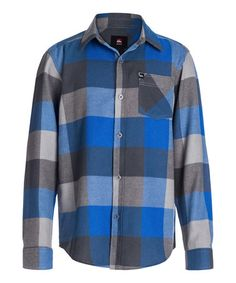 Love this Olympian Blue Plaid Button-Up - Toddler & Boys by Quiksilver on #zulily! #zulilyfinds