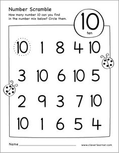 Free printable scramble number ten activity MATHEMATIC HISTORY Mathematics is one of the oldest sciences Coloring Worksheets For Kindergarten, Kindergarten Math Worksheets, Preschool Learning Activities, Preschool Activities, Numbers Preschool, Learning Numbers, Math Numbers, Math For Kids, Writing