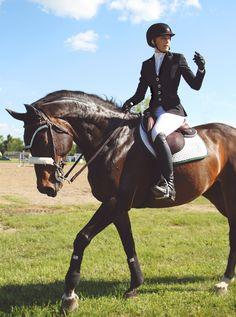 """excellentequestrian: """" Danielle Duryea and Sambalita getting ready for their junior jumper round """""""