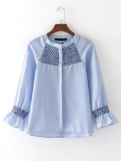 SheIn offers Raglan Sleeve Vertical Striped Embroidered Blouse & more to fit your fashionable needs. Shirt Embroidery, Embroidery Fashion, Embroidered Blouse, Floral Embroidery, Cute Blouses, Blouses For Women, Blouse Styles, Blouse Designs, Hijab Fashion