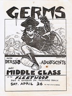 Germs, Middle Class, Adolescents and Der Stab at the Fleetwood, flyer artwork by Shawn Kerri 1980