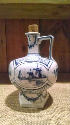 Antique Blue & White Porcelain Delft Decanter with FIVE Floral, Sailboat and Windmill Scenes $59.00 www.etsy.com/shop/hiloacres