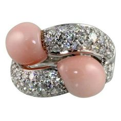 Coral and diamonds ring