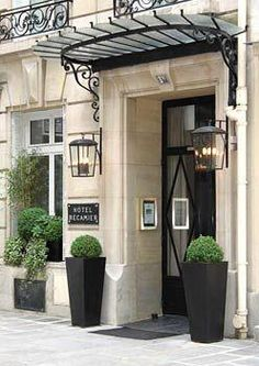 Hotel Recamier, Saint Germain des Prés www. Marquise, Paris Hotels, Boutique Hotel Paris, Door Signage, Hotel Des Invalides, Hotel Door, Saint Germain, Outdoor Sconces, Entrance Doors