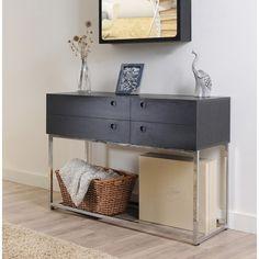 New Modern Black Storage Cabinet Stainless Steel Base Hallway Sofa Table | eBay