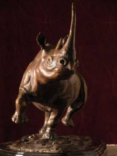 Bronze Endangered Animal Species sculpture by artist Brandon Borgelt titled: 'Black Rhino Charge (Small Bronze Rhinosaurus Statue)' £3034 #sculpture #art