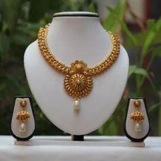 Buy No. 1 antique golden shine White necklace set Online