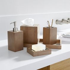 Shop Dixon Bamboo Bath Accessories.  Bamboo goes at right angles as clean-lined, natural bathroom accessories.  Each beautifully crafted piece glows with a warm grey finish. We've got more .