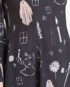 The Premonition print by Samantha Pleet.  Ghosts, candles, swords and flowers on the mini passion dress with pockets.  @samanthapleet at bonadrag.com