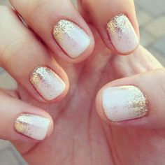 Bridal Nails. One color colour nail art: white (ivory) and gold glitter (eyeshadow, pigment). Put dust on your skin (above your nail) and blow it on your nail white the white polish is still wet #summer #wedding