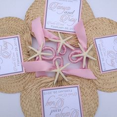 Palm Leaf Hand Fans with Ceremony Program by UrbanElementsDesign