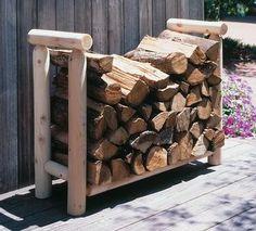 Rustic Natural Cedar Log Firewood Rack