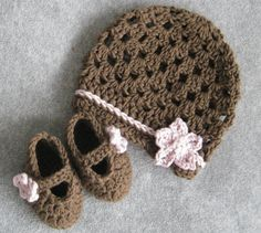 crochet cherry blossom hat and mary janes