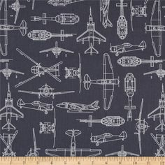 Flyboy Aircraft Outlines Charcoal from @fabricdotcom  Designed by Rosemarie Lavin Design for Windham Fabrics, this fabric is perfect for quilting, apparel and home décor accents.  Colors include white on a  charcoal grey background.