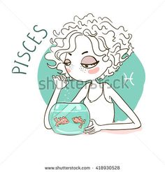 Zodiac signs Pisces. Vector illustration of the girl.