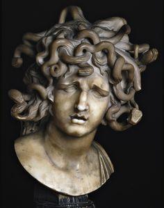 Head of Medusa by Giovanni Lorenzo Bernini, an Italian architect, sculptor and painter Bernini Sculpture, Gian Lorenzo Bernini, Marble Bust, Turn To Stone, Medusa Head, Medusa Gorgon, Medusa Art, Small Sculptures, Arte Horror