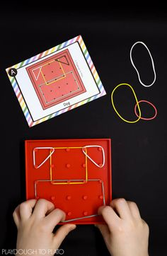 Free Geoboard Challenges - The Stem Laboratory Geoboards are a motivating, hands-on way to work on so many STEM skills at once – shapes, meas Math Classroom, Kindergarten Math, Maths, Math Stations, Math Centers, Geo Board, Stem Skills, Montessori, Stem Challenges