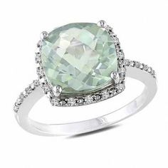 Shop for Cushion-Cut Green Quartz and CT. Diamond Ring in Sterling Silver at Zales - Cushion-Cut Green Quartz and CT. Diamond Ring in Sterling Silver Silver Wedding Rings, Silver Rings, Green Quartz, Unique Rings, Beautiful Rings, Fine Jewelry, Gold Jewellery, Diamond Jewelry, Silver Jewelry