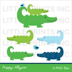 Baby Alligator Clip Art Silhouette | Preppy Alligator Clip Art INSTANT DOWNLOAD by Little Prints Inc ...