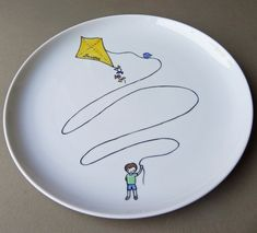 Boy with kite personalized hand painted porcelain plate (large) - custom gift for a boy, via Etsy.