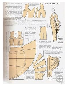 "Моделирование из ""Metodo Practico de Сorte y confeccion"" Barbie Patterns, Dress Sewing Patterns, Clothing Patterns, Costume Patterns, Sewing Hacks, Sewing Tutorials, Sewing Projects, Techniques Couture, Sewing Techniques"