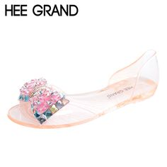 >> Click to Buy << HEE GRAND Women Sandals Summer Style Bling Bowtie Peep Toe Jelly Shoes Woman Crystal Flats Ladies 4 Colors Size 35-40 XWZ3283 #Affiliate