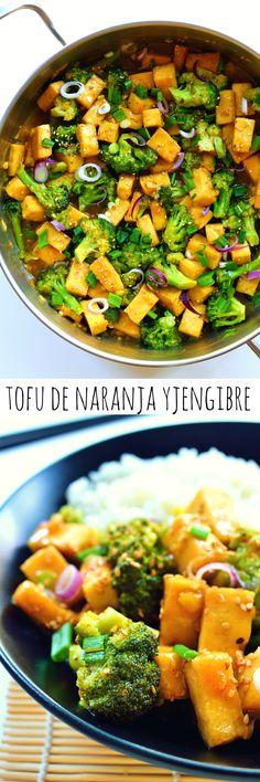 Tofu y brócoli con salsa de naranja y jengibre es un plato rápido y fácil que se puede preparar en sólo 30 minutos. Tofu crujiente y brócoli al vapor es un delicioso plato vegano o vegetariano para una cena de entresemana.