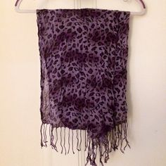 Purple Leopard-Print Scarf This is a lightweight scarf with different shades of purple throughout the print. Only worn a few times. Accessories Scarves & Wraps