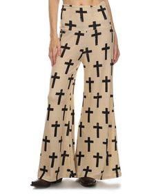 796fa87a7e4 Loving this Beige  amp  Black Cross Flare Palazzo Pants - Plus Too on   zulily