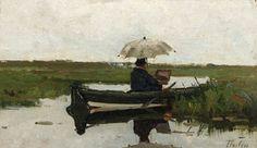 Willem Bastiaan Tholen - Haagse School schilder Paul Joseph Constantin Gabriël aan het werk in een boot