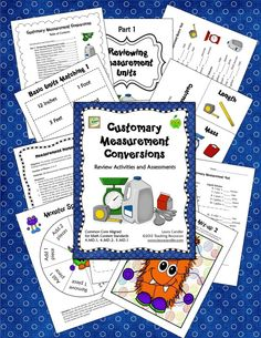 Customary Measurement Conversions is a comprehensive collection consisting of 70 pages teaching resources to review and assess customary measurement basic units and conversions. You'll find math center games, measurement task cards, cooperative learning activities, printables, word problems, and tests. Customary Measurement Conversions is aligned with CCSS 4.MD.1, 4.MD.2, and 5.MD.1. $