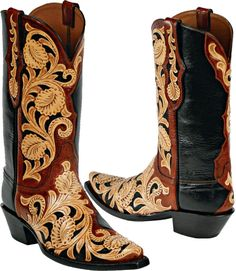 Womens Craftsman Hand Tooled Leather Custom Black Jack Boots HT71