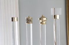 Finials (Polished Brass, Satin Brass) - Curtain Finials - Drapery Finials - End Caps - Drapery Hardware - Curtain Hardware - LuxHoldups Curtain Rod Ends, Curtain Finials, Curtain Hardware, Window Hardware, Drapery Rods, Bathroom Hardware, Curtain Poles, Architectural Digest, Architectural Features
