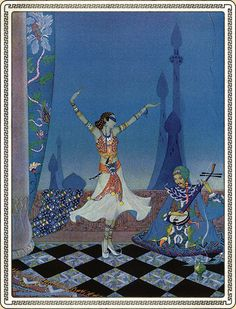 Morgiana Danced with Much Grace. Arabian Nights - Illustrated by Virginia Frances Sterrett. Penn Publishing Company, 1928.