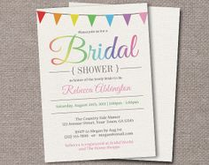 Rainbow Bunting Flags Bridal Shower Invitations - Printed or Printable - Rustic Canvas