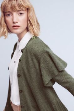 New-Anthropologie-Ruffled-Shoulder-Cardigan-by-Left-Of-Center-Small