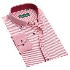 Wrinkles Free Dress Shirt Long Sleeve Regular Fit Plaid Striped