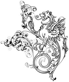 A detailed Dragon with flowing scrolls,would make a great tattoo or. Free Vector Graphics, Vector Art, Art Nouveau Tattoo, Hip Tattoo Designs, Illustration Art Nouveau, Gothic Tattoo, Scroll Pattern, Motif Floral, Great Tattoos