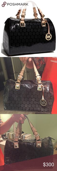 """Auth. MK Grayson Monogram Patent Leather Satchel Authentic Michael Kors Grayson Monogram Patent Leather Black Satchel. Measurements: 11.5"""" (L) x 9.5"""" (H) x 7.5"""" (W). Used Condition, exterior has areas of slight fading. I have the dust bag. Michael Kors Bags Satchels"""