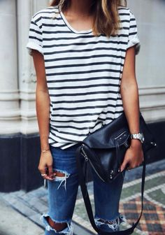 glamorous-diamond:  Stripe Top» Blue Jeans»
