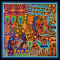 "Huichol yarn art ""Flood the Third World"""