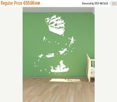 This Peter Pan and Captain Hook wall decal, with Tinkerbell and all the characters, will turn your little babies bedroom into a fairy tale wonderland. This mural is designed to be extra large filling a whole wall when laid out as in the picture, or you can lay the design out as you see fit, get creative and use the characters in a different configuration. Application  Some designs come in sections if they are larger, to keep the cost of postage down, simply take each section of the design…